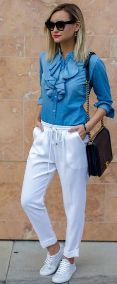 White Slouchy Pants Fall Inspo by Late Afternoon