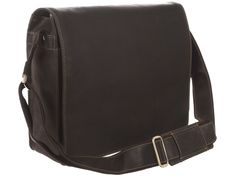 Brown Leather Extra Large Messenger Bag From Visconti
