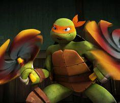 Mikey: Face the wrath of my nunchucks! Ninja Turtle Toys, Tmnt Turtles, Teenage Mutant Ninja Turtles, Tmnt 2012, Tmnt Mikey, Tmnt Girls, Cartoon Shows, Michelangelo, Dinosaur Stuffed Animal