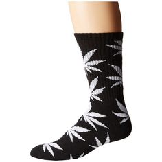 HUF Plantlife Crew Socks (Black) Crew Cut Socks ($12) ❤ liked on Polyvore featuring intimates, hosiery, socks, crew length socks, crew socks, huf, double layer socks and huf socks