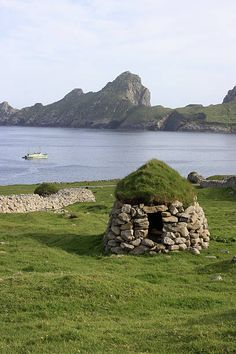 An intact cleit on Hirta the largest island in the St Kilda archipelago which contains the westernmost islands of the Outer Hebrides, of Scotland and the United Kingdom. Cleits are dome shaped structures with a turf cap from prehistoric times used for stor