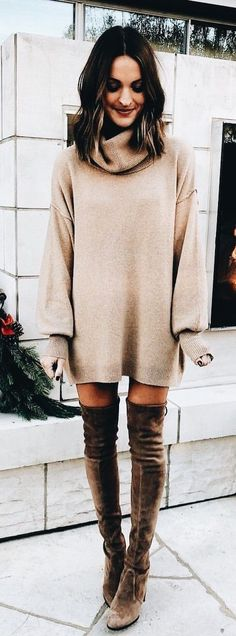 Cute beige knit sweater dress with brown suede OTK boots. https://www.thesterlingsilver.com/product/bvlgari-sunglasses-bv8104-97713-57/