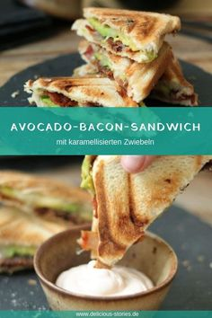 Avocado-Bacon-Sandwich mit karamellisierten Zwiebeln Get the sandwich maker out of the cupboard. There are crispy avocado and bacon sandwiches with caramelized onions. Toast Sandwich, Grill Sandwich, Sandwich Recipes, Bacon Sandwiches, Breakfast Sandwiches, Aioli, Sandwich Aguacate, Tartiflette Recipe, Avocado Health Benefits