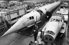 A wooden mock-up of Concorde was made at Filton in Bristol, 1963