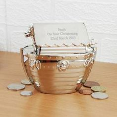 This simple but beautiful money box is silver plated and can be personalised with your message! Available To Buy Now From Prezzybox at Personalised Noah's Ark Money Box In Stock With Fast, UK Delivery. Personalised Money Box, Personalized Christmas Gifts, Personalized Items, Silver Money Box, Christening Gifts, New Baby Gifts, Keepsake Boxes, Special Gifts, New Baby Products