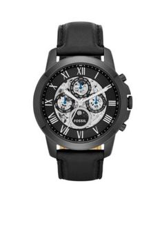 Fossil Black Grant Automatic Black Leather Watch