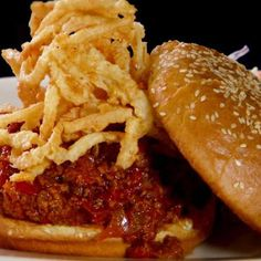 Try Sloppy Joes (Diners, Drive-Ins and Dives)! You'll just need 1/8 cup canola oil, 8 ounces red onion, diced into 1/2-inch pieces, 6 ounces red bell...