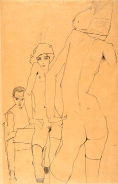 Egon Schiele Drawing Before a Mirror 1914