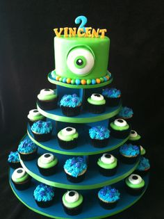 Monsters inc cupcake tower in different color for a girl?...