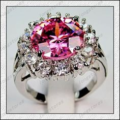 'Size 8 pink Sapphire White Gold filled ring' is going up for auction at 11am Sat, Aug 25 with a starting bid of $12.