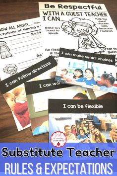 Teach your students the expectations for having a guest teacher. Editable to match your school's PBIS rules. Encourage students to be flexible, kind, and helpful when there's a substitute teacher. Posters, student pages, and real life pictures included. #backtoschool #classroommanagement #guestteacher Teacher Posters, Classroom Expectations, Substitute Teacher, Positive Behavior, Life Pictures, My Teacher, Classroom Management, Lesson Plans, Back To School