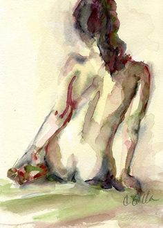 Nude Female Figure Yellows and Dark Reds, Giclee Print From Original Watercolor Painting 5 x 7