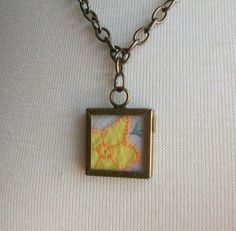 Yellow Flower Pendant Necklace Bronze Picture by sammysgrammy, $22.00