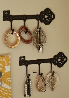 Key hooks to hang your bracelets... why have I not thought of this??