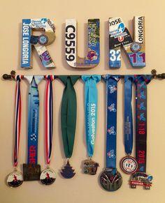 Made for husband - marathon medal display Running Humor, Running Training, Running Tips, Half Marathon Training, Marathon Running, Houston Marathon, Medal Displays, Running Medals, Runner Problems