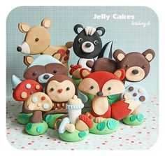 Forest Friends Keepsake Cake Topper by jellycakesdesigns on Etsy