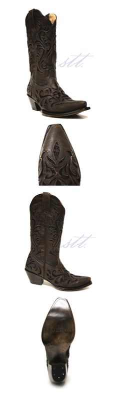 Women's Stetson Boots -- Dark Brown Leather Cowgirl Boots with Black Lace | SouthTexasTack.com