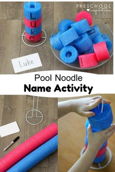 Use pool noodles to spell your name for summer fun! Or expand the activity to spell lots of different summer words. Name Activities Preschool, Homeschool Kindergarten, Alphabet Activities, Preschool Learning, Kindergarten Classroom, Toddler Preschool, Toddler Activities, Learning Activities, Preschool Activities