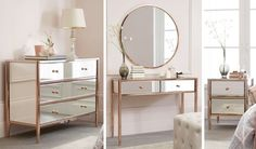 Copper plated framed mirrored furniture with copper orb handles. Available at NEXT.