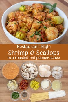 Creating restaurant-style dishes in your home is easier than you think. And my roasted red pepper sauce will definitely amaze your friends and family with its complexity of delicious flavors! This could become your signature sauce. Pork Recipes For Dinner, Italian Dinner Recipes, Instant Pot Dinner Recipes, Best Seafood Recipes, Shellfish Recipes, New Recipes, Prawn Recipes, Popular Recipes, Recipies