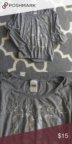 Super cute extra small love pink sweater Gray and sequin long sleeve shirt Victoria's Secret Tops Tees - Long Sleeve