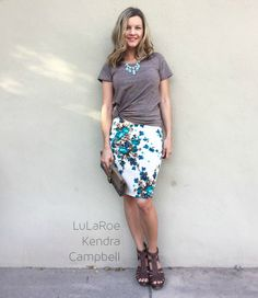 The LuLaRoe Cassie skirt takes the fancy up a notch from the maxi skirt, without sacrificing comfort. This pencil skirt's waistband flatters all body types and enables the wearer to adjust th…