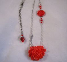 Red Rose Dragonfly and Ladybug Necklace by deblane144 on Etsy, $24.00