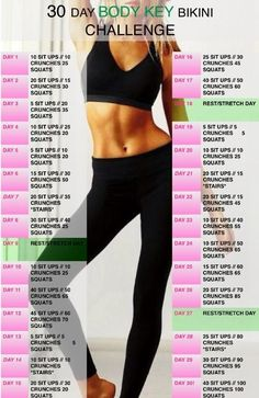 30 Day Body Key Bikini Challenge - my work out plan - Sexy Bikini Fitness Workouts, Fitness Herausforderungen, Ab Workouts, Health Fitness, Cardio, Target Fitness, Exercises, Soccer Workouts, Fitness Band