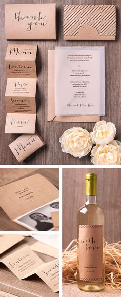 Sehr einfach...   Rustic chic invitation suite. Wine Label. Vellum. Menu Design. Simple and beautiful #packaging PD