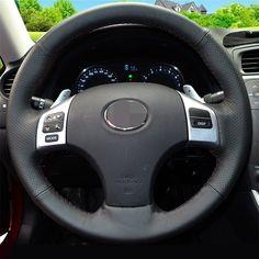 Cubierta Del Volante de Cuero cosido a mano Negro para Lexus is250 Coche Especial