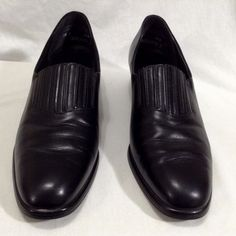 e192914ffe7 Munro American 10 N Black Leather Slip On Loafers Shoe Women Rubber Soles   Munro