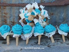Turquoise Burlap Rose Boutonnieres for Vintage Inspired Wedding Rustic Bout. $10.00, via Etsy.