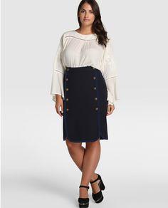 Falda corta de mujer talla grande Couchel con adorno de botones