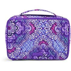 Vera Bradley Large Blush   Brush Makeup Case in Lilac Tapestry ( 52) ❤ liked  on Polyvore featuring beauty products ab7be94ec52a6