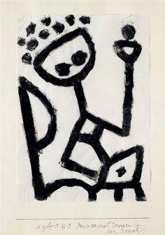 Paul Klee (1879 - 1940) | Expressionism | Mumon drunk falls into the chair - 1940