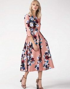 3707f6d1ea Dina Pink Floral Pleated Skirt Dress with Pockets One or our favourites for  the new season