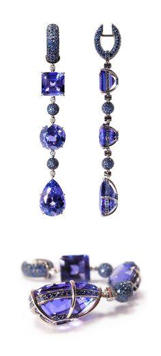 "VLAD GLYNIN jewellery - Earrings ""Sequence"", 2011. White gold, tanzanites, sapphires, diamonds. / Серьги «Последовательность», 2011 г. Белое золото, танзаниты, сапфиры, бриллианты. / Orecchini «Sequenza», 2011. Oro bianco, tanzaniti, zaffiri, diamanti."