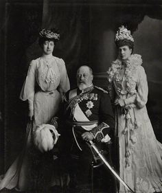 King Edward VII with his daughter Princess Royal Victoria and wife Queen Alexandra of Denmark.  1903 photo by Lafayette.  Bromide print, 1903