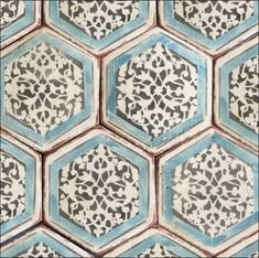 Hand painted hexagons are available in many more shapes and colours at World Mosaic Tile | www.worldmosaictile.com