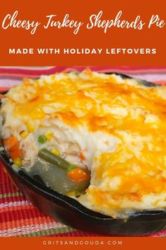 Want something other than turkey sandwiches to make with leftover turkey? This Turkey Shepherds Pie also uses leftover mashed potatoes, veggies, and gravy, too! This twist on the one dish meal will typically made with ground beef will become your after-th Southern Christmas Recipes, Best Thanksgiving Recipes, Fall Recipes, Dinner Recipes, Thanksgiving Turkey, Easter Recipes, Yummy Recipes, Turkey Shepherds Pie, Turkey Pie