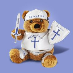 Armor of God teddy bear.  Need to make these clothes for our daughter's bear.  We've been making a point to read Ephesians' Armor of God every morning and night.