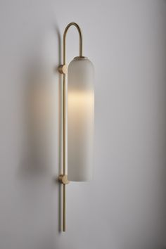 Articolo Float Wall Sconce, Brass Rod and Fitting with Snow Shade #articololighting #wallsconce #lighting #interiordesign #walllight #brass #glass #leather #architecturaldesign #bespokedesign
