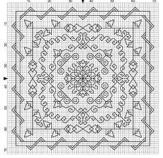 blackwork Biscornu Cross Stitch, Blackwork Cross Stitch, Blackwork Embroidery, Cross Stitching, Cross Stitch Embroidery, Embroidery Patterns, Cross Stitch Designs, Cross Stitch Patterns, Blackwork Patterns