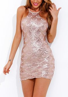 Pink Scallop Sequin Party Dress – Lookbook Store