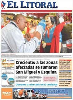 Tapa Impresa del diario El Litoral del viernes 9 de Enero del 2015