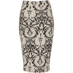 Jane Norman Jaquard Pencil Skirt ($10) ❤ liked on Polyvore featuring skirts, black, fitted skirts, jane norman, sexy pencil skirt, pencil skirts and sexy skirt