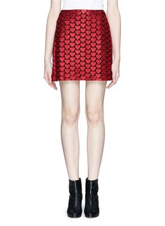 Double up the romance with this alice + olivia skirt which will instantly inject a flirty appeal to your black ensemble. Wear this heart galore apparel and it is sure to avoid having your heart on your sleeve.