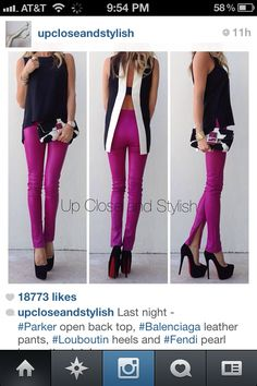 Parker open back top, Balenciaga leather pants, Louboutin heels. I love the outfit. The shoes are a little too Mini Mouse, but another style of Louboutin heels and I am all in! Mode Style, Style Me, Diy Moda, Moda Fashion, Womens Fashion, Boutique Fashion, Look Chic, Swagg, Passion For Fashion