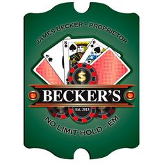 """Vintage """"Texas Hold-Em"""" Pub Sign – Shuffle and Deal! Your poker room will be """"open for business"""" with this personalized """"Texas Hold-Em"""" Pub Sign. Each design is printed directly onto the composite base for lasting quality 