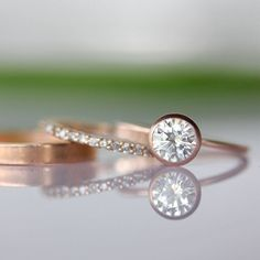 6mm Moissanite Engagement Ring In 14K Rose Gold - Made To Order. $560.00, via Etsy.